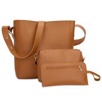 PU Leather 3 Pieces Shoulder Bag Set - BROWN BROWN