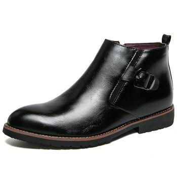 Side Zip Pointed Toe Buckled Chukka Boots - BLACK 41