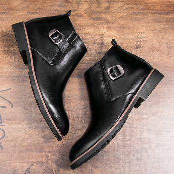 Side Zip Pointed Toe Buckled Chukka Boots - BLACK 42