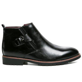 Side Zip Pointed Toe Buckled Chukka Boots - BLACK BLACK