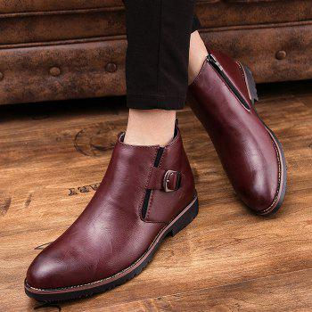 Side Zip Pointed Toe Buckled Chukka Boots - WINE RED 43