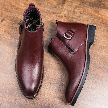 Side Zip Pointed Toe Buckled Chukka Boots - WINE RED 44