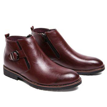 Side Zip Pointed Toe Buckled Chukka Boots - WINE RED 40