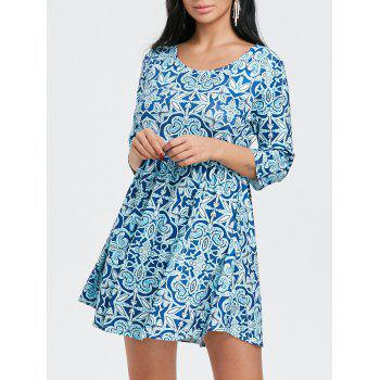Scoop Neck Floral Print Mini Dress - BLUE BLUE