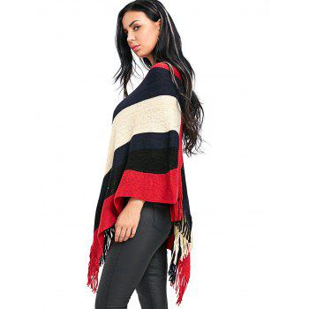 Fringe Color Block Poncho Sweater - RED ONE SIZE