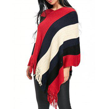 Fringe Color Block Poncho Sweater - RED RED