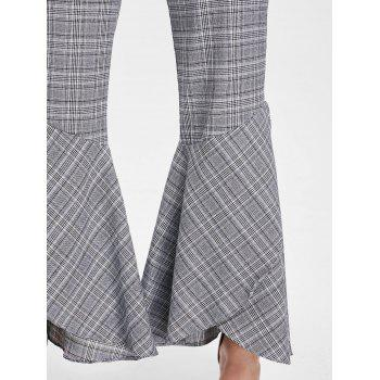 Plaid Zipper Bell Bottom Pants - CHECKED CHECKED