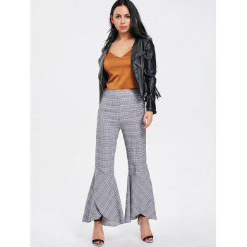 Plaid Zipper Bell Bottom Pants - CHECKED XL
