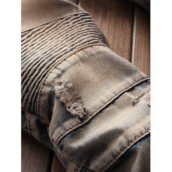 Vintage Straight Leg Distressed Biker Jeans - BROWN 32