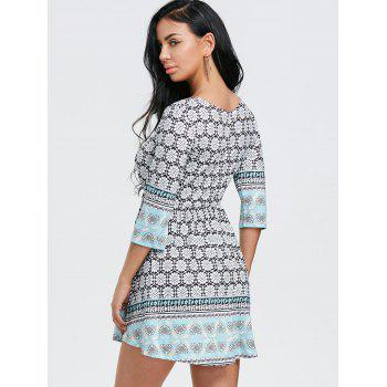 Scoop Neck Floral Print Mini Dress - LIGHT BLUE L