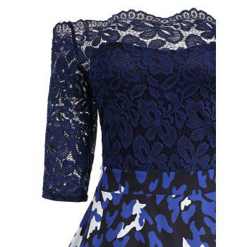 Print Lace Vintage Flare Off Shoulder Dress - BLUE BLUE