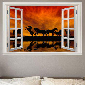 Horse In The Sunset Removable Window View Wall Sticker - COLORFUL COLORFUL