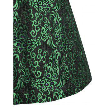 Paisley Plus Size Midi 1950s Vintage Dress - GREEN GREEN