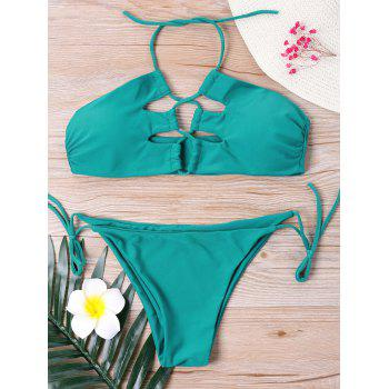 Tie Side Halter Neck Bikini Set - MALACHITE GREEN MALACHITE GREEN