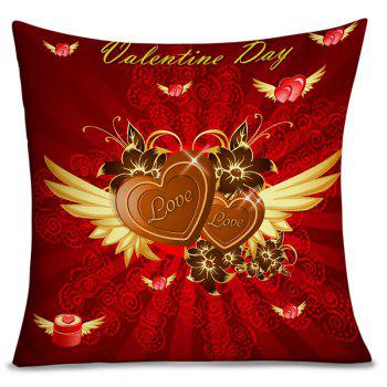 Valentine's Day Heart with Wing Pattern Pillowcase - RED RED