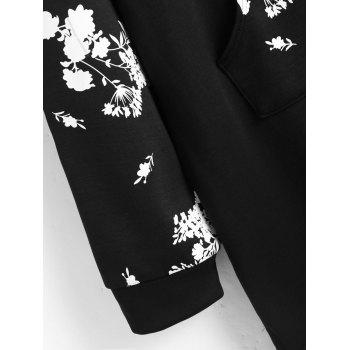 Floral Front Pocket Plus Size Sweatshirt Dress - BLACK 3XL