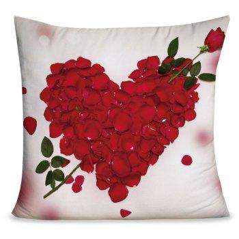 Valentine's Day Rose Petals Heart Pattern Pillow Case - RED AND WHITE RED/WHITE