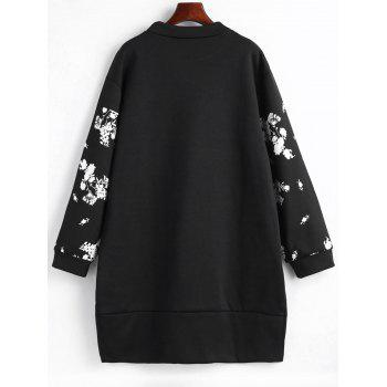 Floral Front Pocket Plus Size Sweatshirt Dress - BLACK 5XL