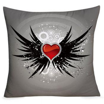 Valentine's Day Heart with Wings Pattern Throw Pillowcase - DEEP GRAY DEEP GRAY