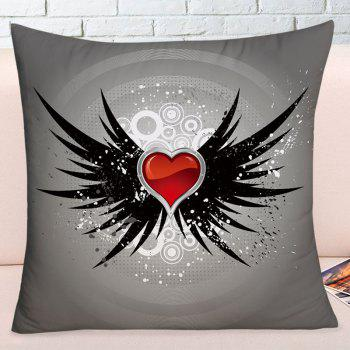 Valentine's Day Heart with Wings Pattern Throw Pillowcase - DEEP GRAY W17.5 INCH * L17.5 INCH