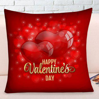 Coque taie d'oreiller Square Hearts Happy Valentine's Day - Rouge W17.5 INCH * L17.5 INCH