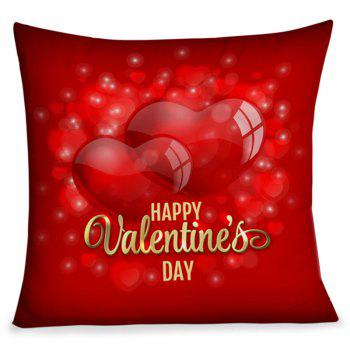 Happy Valentine's Day Hearts Pattern Square Pillow Case - RED RED