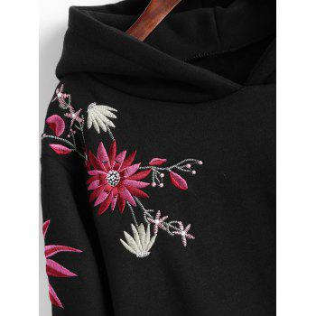 Plus Size Fleece Lined Embroidered Hoodie Dress - BLACK 4XL