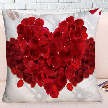 Valentine's Day Petals Heart Square Pillowcase - RED W17.5 INCH * L17.5 INCH