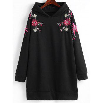 Plus Size Fleece Lined Embroidered Hoodie Dress - BLACK BLACK