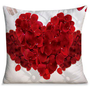 Valentine's Day Petals Heart Square Pillowcase - RED RED