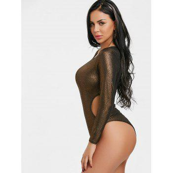 Long Sleeve Cut Out Shimmer Bodysuit - GOLDEN GOLDEN