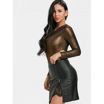 Long Sleeve Cut Out Shimmer Bodysuit - GOLDEN XL