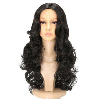 Long Center Parting Capless Wavy Synthetic Wig - JET BLACK 01# JET BLACK