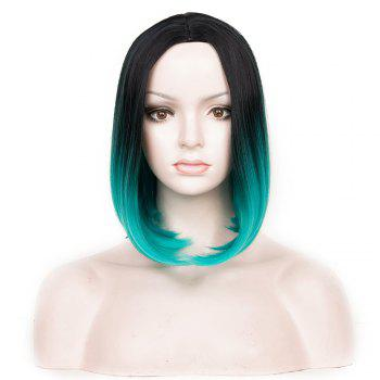Medium Ombre Center Parting Straight Bob Synthetic Wig - BLACK AND GREEN BLACK/GREEN