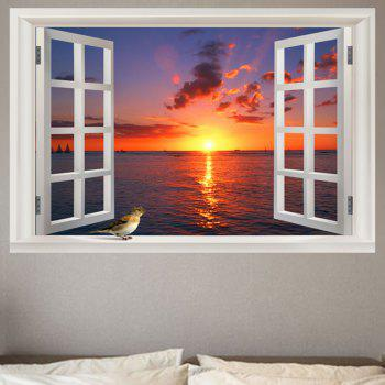 Seaside Sunset Removable Window View Wall Sticker - COLORFUL COLORFUL