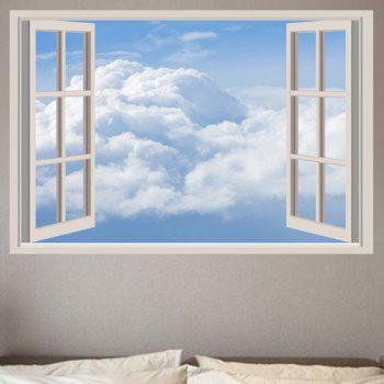 White Clouds Removable Window View Wall Sticker - CLOUDY CLOUDY