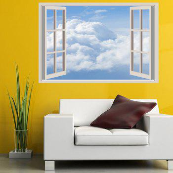 White Clouds Removable Window View Wall Sticker - CLOUDY W20 INCH * L27.5 INCH