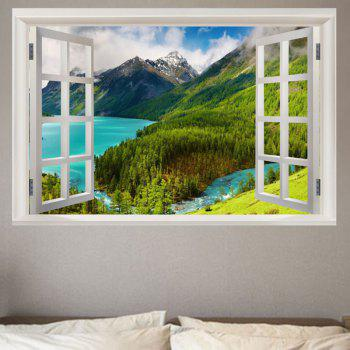 Mountain and River Scenery Prattern Window View Removable Wall Sticker - GREEN GREEN