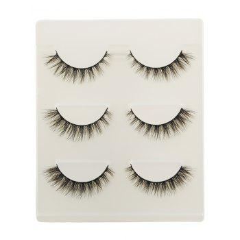 3 Pairs Natural Volumizing Curling Faux Eyelashes - BLACK