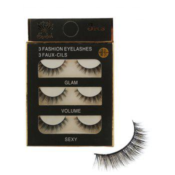 3 Pairs Natural Volumizing Curling Faux Eyelashes - BLACK BLACK
