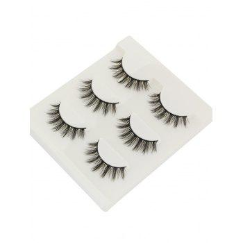 Professional 3 Paisr Natural Long Extension Fake Eyelashes - BLACK