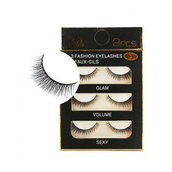 3 Pairs Natural Thick Extensions Crisscross False Eyelashes - BLACK BLACK