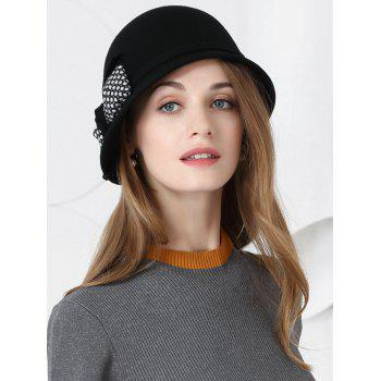 Bowknot Decoration Faux Wool Pillbox Hat - BLACK BLACK