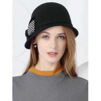 Bowknot Decoration Faux Wool Pillbox Hat -  BLACK