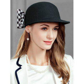 Vintage Checkered Pattern Bowknot Decorated Ladies Hat - BLACK BLACK