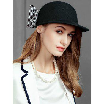 Vintage Checkered Pattern Bowknot Decorated Ladies Hat -  BLACK