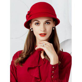 Vintage Bow Embellished Faux Wool Formal Pillbox Hat - RED RED