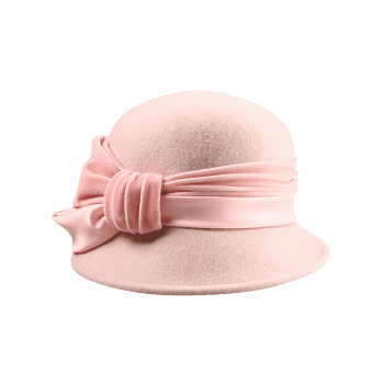 Vintage Ribbon Knot Decorated Formal Hat -  PINKBEIGE