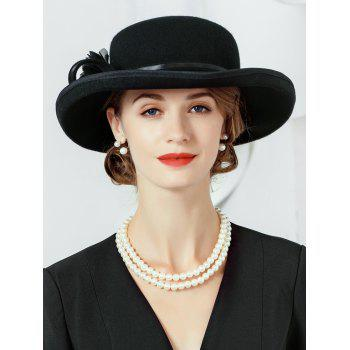 Simple Floral Embellished Artificial Wool Fedora Hat - BLACK