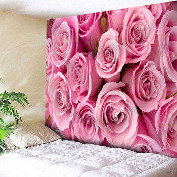 Wall Hanging Valentine's Day Rose Flowers Print Tapestry - PINK PINK